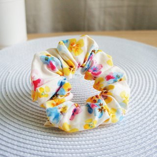 Lovely [Japanese cloth] three-color hair bundle, large intestine ring, doughnut hair bundle [yellow-blue powder]