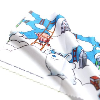The scenery on the cloud】 【big mud illustration glasses cloth