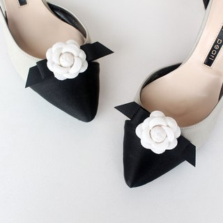 Small Camellia RIbbon Bridal Wedding Shoes Clips for Wedding Party