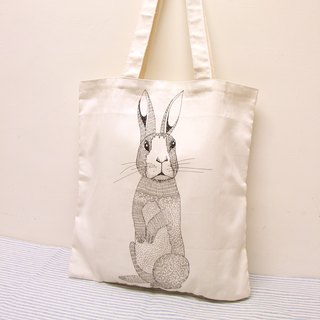 Rolia's hand-limited rabbit double-sided pattern cotton shoulder bag