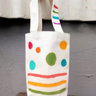 [Pure hand-painted] kettle bag | beverage bag | umbrella bag | canvas | dot striped lattice
