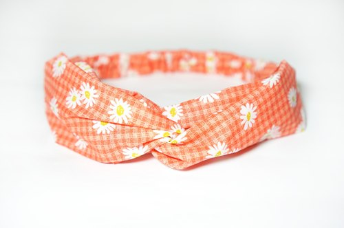 Tangerine flower / handmade elastic hair band