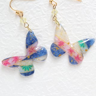 Blue butterfly earrings with hand painted japanese pattern
