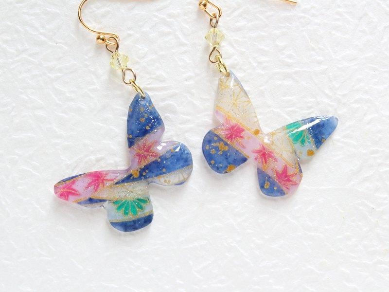 彩藍手繪和風蝴蝶耳環 耳夾