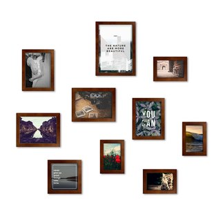 HomePlus simple photo frame brown 10 into the combination Loft industrial wind interior design solid wood frame arrangement furnishings frame photo wall creative wall stickers