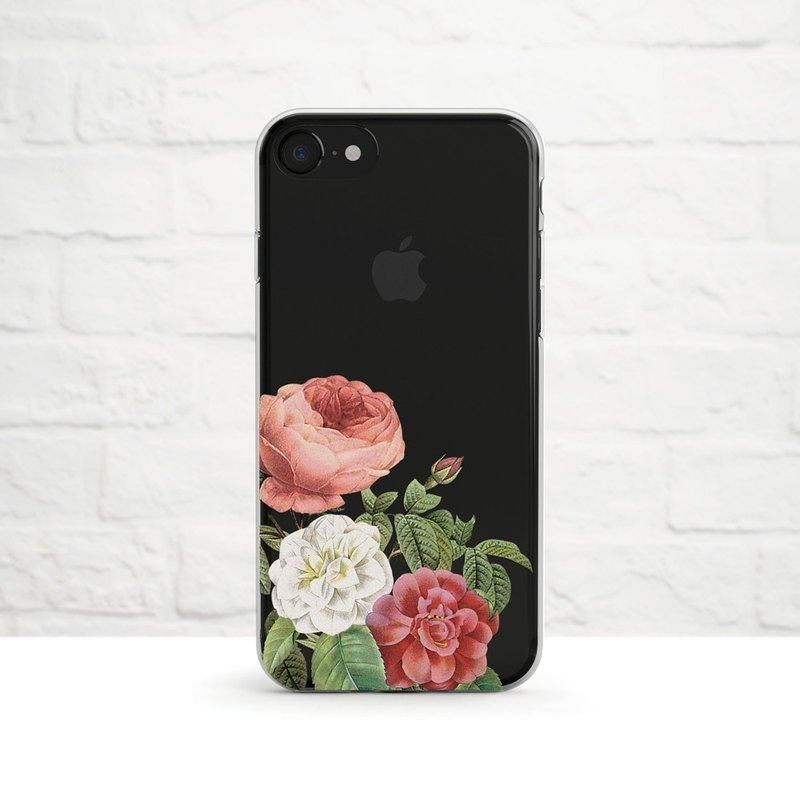 Peony and English Rose, Clear Soft Case, iPhone Xs Max, Xr to iPhone SE/5, Sams