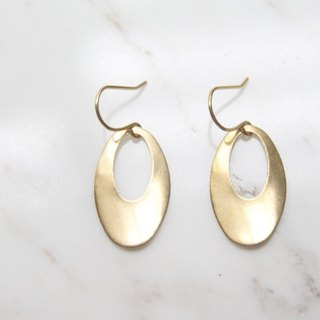 Round leaf pure brass gold earrings