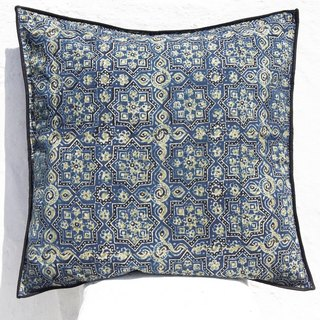 Christmas gift limited handmade woodcut printing pillowcase / cotton pillowcase / printing pillowcase / hand-printed pillowcase - indigo blue Moroccan tiles