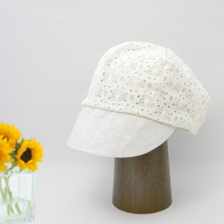 A cool news boy cap of lace material. Race news Boy Cappy White impressive sense of sheer impression 【PL 1666-WH】