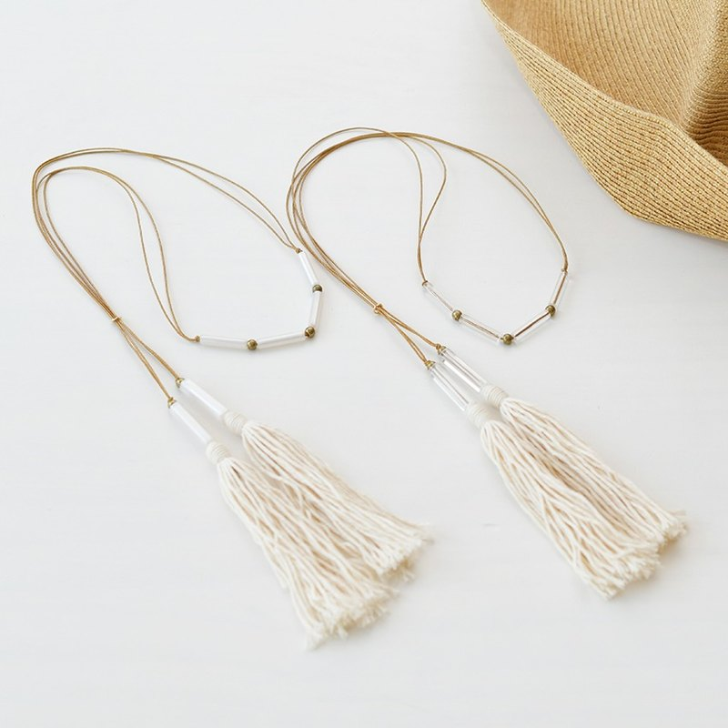 "Tube Tassel Necklace""Cotton"""