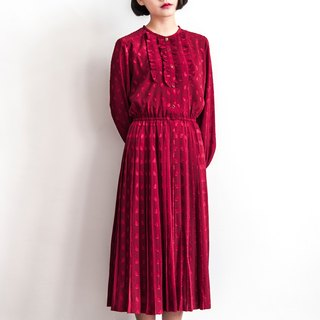 Vintage jacquard lotus leaf red long-sleeved antique dress