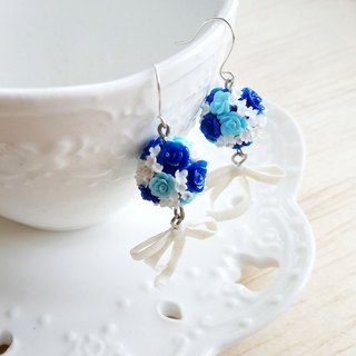 Blue bridal bouquet sterling silver earrings / ear clips