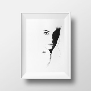 Actress Jolie Watercolor / Scandinavian style pencil drawing watercolor / gift furnishings