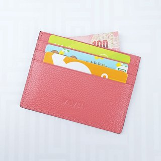 """Coral Pink""Cow Leather Card Holder"