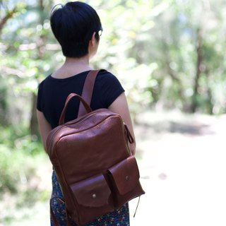 Handmade leather tanned leather zipper backpack brown travel gift customized