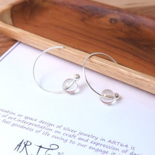 Blonde Crystal Crescent Earrings (Large) - 925 Sterling Silver Natural Stone Ear Pins