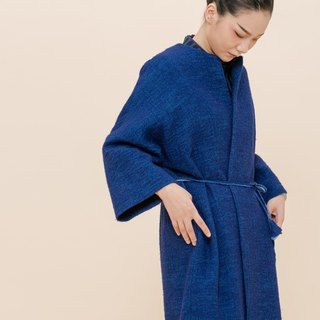 BUFU  unisex woolen oversized long coat in blueO170804