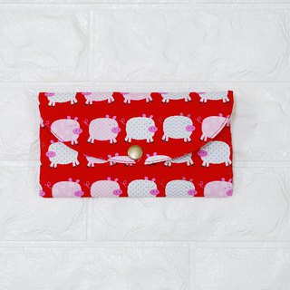 Play cloth hand made. Cute pig (red) red bag passbook storage bag