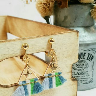 Paris*Le Bonheun. Triangle star colorful tassel earrings (ear pin / ear clip clip type). blue-green