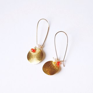 Textured filament brass disc earrings natural pearl orange jade can be changed clip