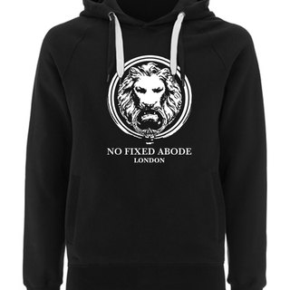 NO FIXED ABODE Hoodie Lion Front - Black Unisex