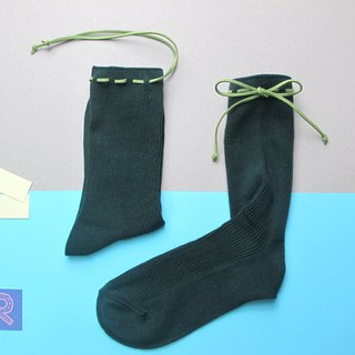 II Socks / green paper money tying Socks / temperament dark green / customized orders