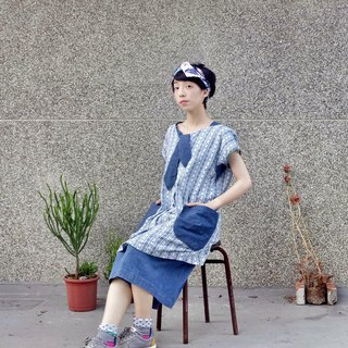 Denim Stitching Print Cotton Tie Short Dress