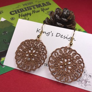 Dreamcatcher earrings (brown gold color) / tatted lace / gift / Swarovski crystal pearl/ customize