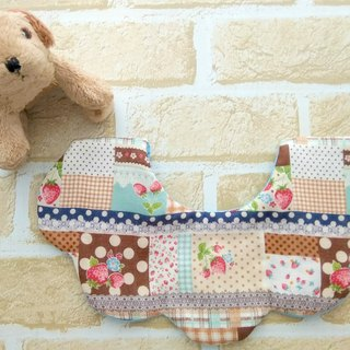 Baby Girl Bib, Brown Patchwork Print, Cute Stylish Bib, Reversible, Scalloped