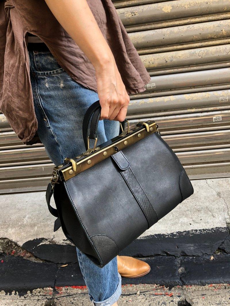 英式復古黑格雷側背包 斜背包 手提包 -植鞣牛革製-  Size 中型