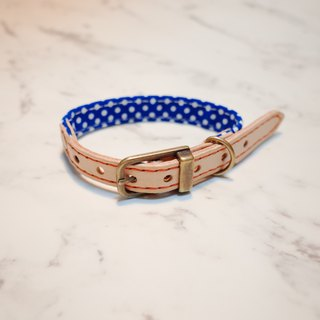Dog collars, S size, Bright blue dots_DCT090419