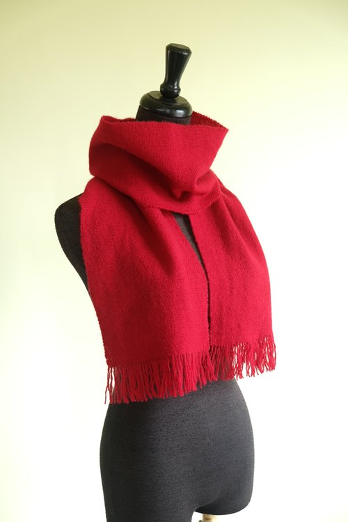 Own Handwoven Wool Scarf - Tibetan Red