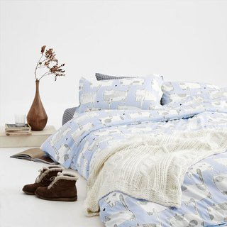 Bamei 喵 pillowcase + quilt cover two sets of single double original hand-painted cat 40 cotton bed package optional