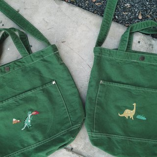 T rex / Bronto Embroidery - Canvas Crossbody Bag: Dark Green