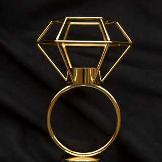 Experimental plan / zero 壹 / geometric lines - diamond candlestick jewelry table - electroplating gold