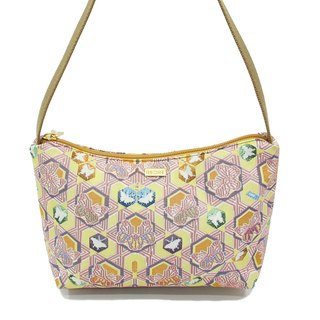 Butterfly Kaleidoscope jacquard woven Videos crescent shoulder bag pink yellow -REORE
