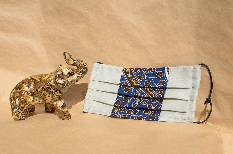 非洲花布口罩套-孔雀森林(雙拼灰底)