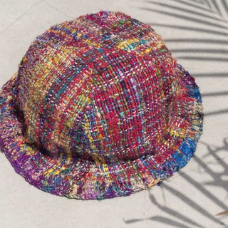 Limited a graduation gift Valentine's Day gift Chinese Valentine's Day gift hand-woven hand-woven cotton cap / fisherman hat / sun visor / patch cap / handmade hat / hand-crocheted - colorful rainbow hand sari line gradient stars