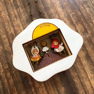 Miss Eggs and Mr. Sausage Story Box Necklace