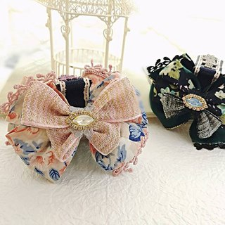 §HUKUROU§ double-sided French bow clip clip / shark clip (middle) (dark green / pink / gray blue)