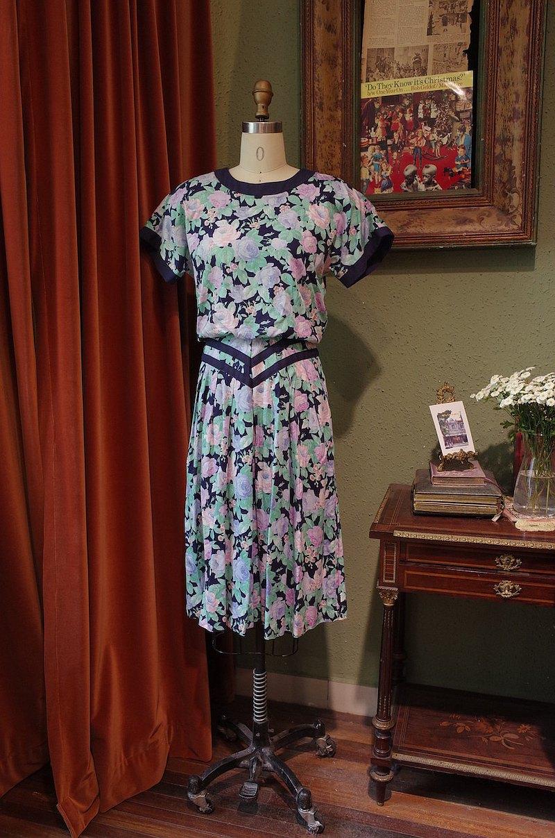 vintagedress美國制印花連衣裙古著洋裝