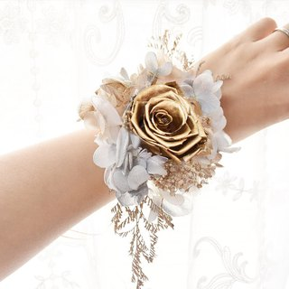 WANYI Golden Rose Wrist Flower Ring Eternal Flower Withered Ring Bridesmaid Wedding