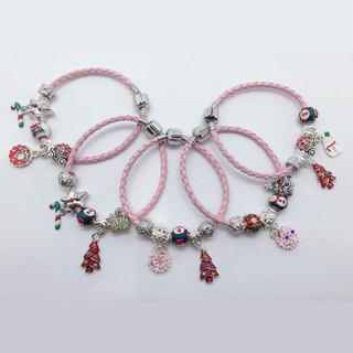 Fishtail Braided Leather Cord Pink Bracelet Xmas Party Queen Random Charms