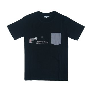 Dosquare - Cotton Black Pocket T-shirt with Graphic