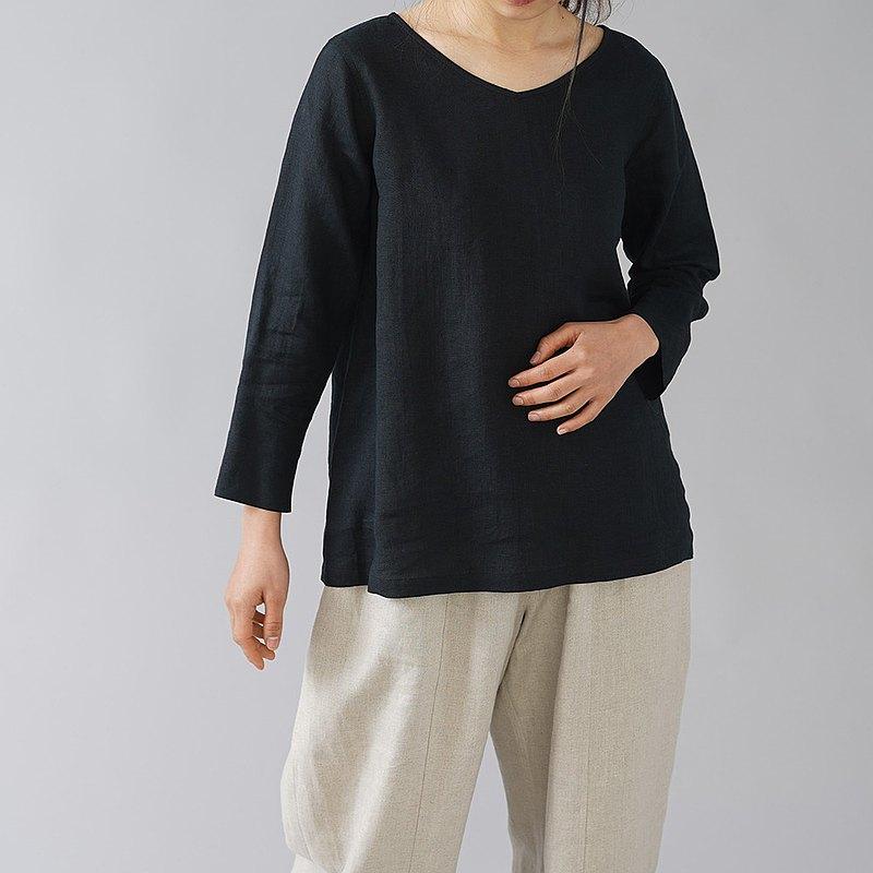 M尺寸--wafu-亞麻上衣輕質亞麻V領內褲/黑色p013a-bck1-M