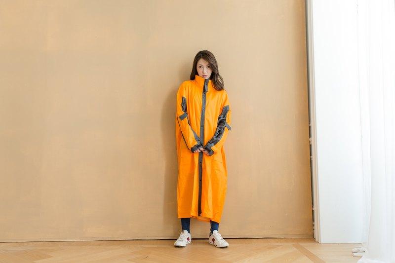 勁馳率性前開連身式雨衣-橘/鐵灰