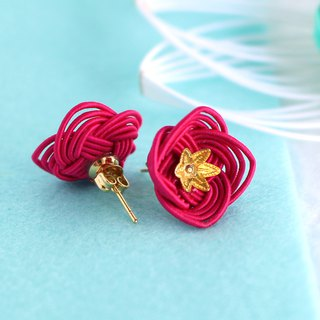 japanese style pierce earring / mizuhiki / japan / accessory / flower / red