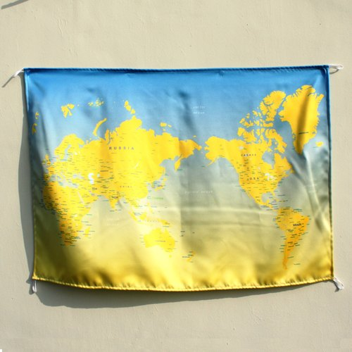 Taiwan Traveler World Map Blend of yellow and blue Wall Decor ...