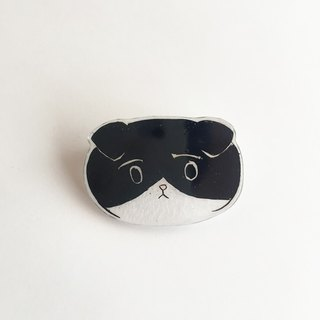 Black-and-white face of the cat Prabang brooch 2