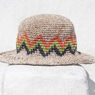 Valentine's Day gift limited handmade knitted cotton hood / weaving hat / fisherman hat / straw hat / straw hat - South America color lightning hollow woven